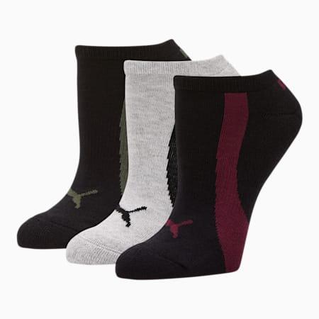 Women's No Show Socks [3 Pack], BURGUNDY, small